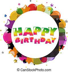 anniversaire, ballons, carte, coloré, heureux