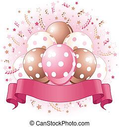anniversaire, ballons, rose, conception