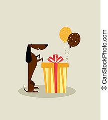anniversaire, chien, carte