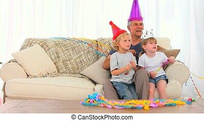 anniversaire, famille, heureux