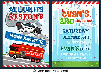 anniversaire, invitation, firetruck., gabarit, fête, voiture, gosse, police