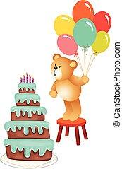 anniversaire, ours peluche