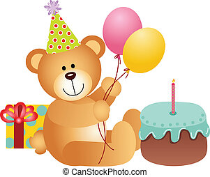 anniversaire, ours, teddy