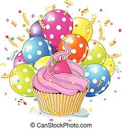 anniversaire, petit gâteau, ballons