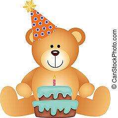 anniversaire, teddy, gâteau, ours