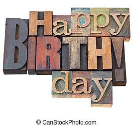 anniversaire, type, letterpress, heureux