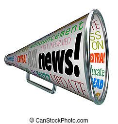 annonce, alerte, important, bullhorn, nouvelles, porte voix