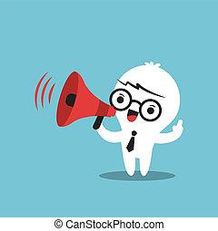 annonce, business, faire, caractère, porte voix, dessin animé
