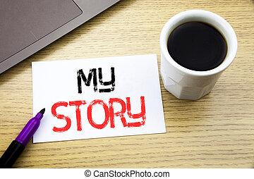 annonce, café, concept, projection, bureau affaires, bois, texte, ordinateur portable, sur, cahier, dire, écrit, livre, écriture, fond, dire, vous, mon, story.