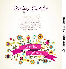 annonce, carte, salutation, invitation, mariage, ou