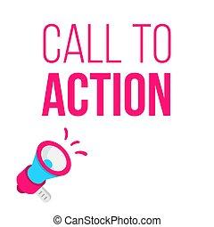 annonce, concept, illustration., megaphone., appeler, action
