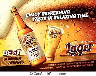 annonces, rafraîchissant, bière blonde, bière