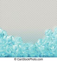 annonces, vecteur, arrière-plan., nourriture, réaliste, cubes, boisson, gabarit, isolé, glace, transparent