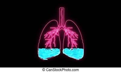 anormal, fluide, souffle, condition, alveoli., dû, oedème, malades, pulmonaire, holographic, résulter, manque, difficulté, respiration, oxygène, ou, causé