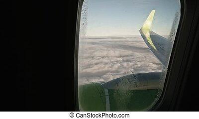 anse, fenêtre, avion, aile, nuage, vue