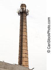 antennes, vieux, cheminée usine