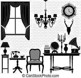 antique vieux, salle, salle, meubles