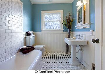 antiquité, bleu, salle bains, conception, luxe