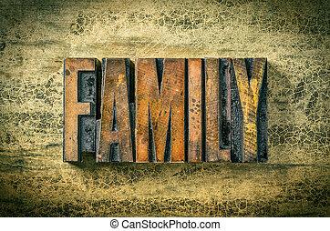 antiquité, blocs, famille, letterpress, impression, -, bois, type