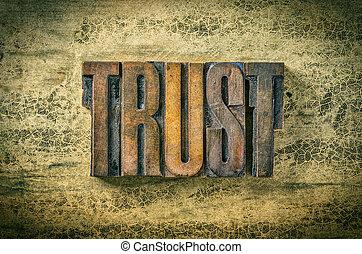 antiquité, bois bloque, letterpress, -, impression, confiance, type