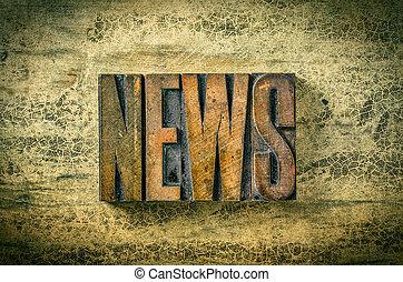 antiquité, bois bloque, letterpress, -, impression, nouvelles, type