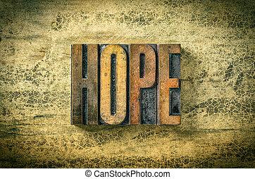 antiquité, bois bloque, letterpress, -, impression, type, espoir