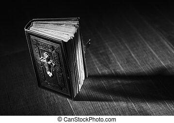 antiquité, bois, précieux, bible, bureau