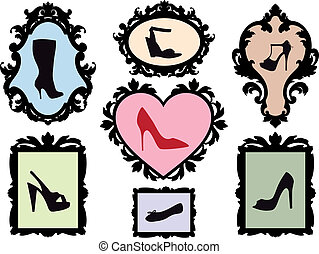 antiquité, cadres, silhouettes, chaussure