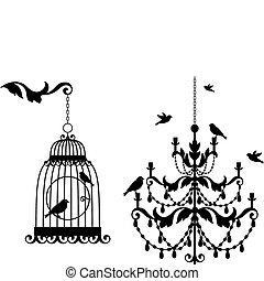 antiquité, cage d'oiseaux, lustre