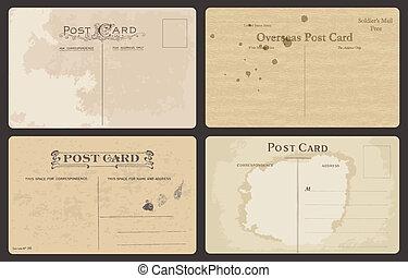 antiquité, cartes postales, ensemble, vecteur