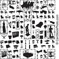 antiquité, cent, vecteur, meubles