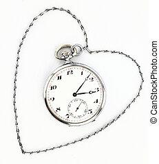antiquité, chaîne, horloge, poche