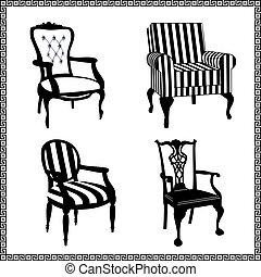antiquité, chaises, silhouettes, ensemble