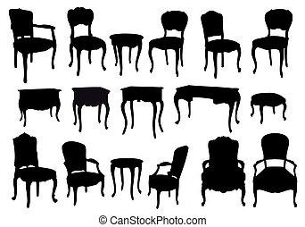 antiquité, chaises, vecteur, tables