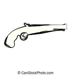 antiquité, croquis, pistolet, isolé