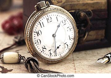 antiquité, décoration, horloge, poche, objets, retro