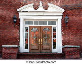 antiquité, double, plombé, portes, verre