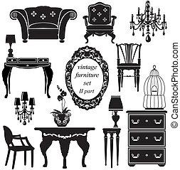 antiquité, ensemble, -, isolé, silhouettes, noir, meubles