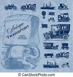 antiquité, ensemble, transport, (vector)