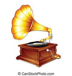 antiquité, gramaphone