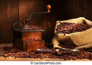 antiquité, haricots, moulin café