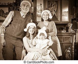 antiquité, heureux, santa, famille, imitation, chapeau, photo