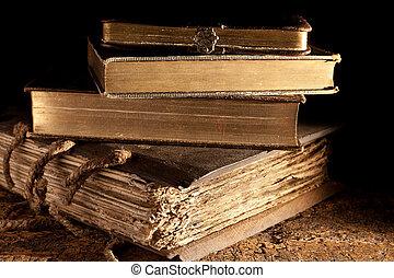 antiquité, livres, empilé