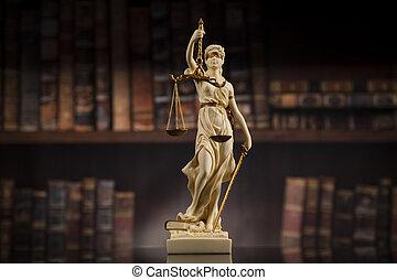 antiquité, livres, fond, droit & loi, statue, justice