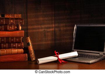 antiquité, livres, ordinateur portable, diplôme, bureau