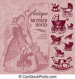 antiquité, maternité, ensemble, (vector)
