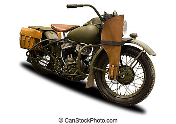 antiquité, militaire, motocyclette