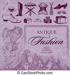 antiquité, mode, ensemble, (vector)