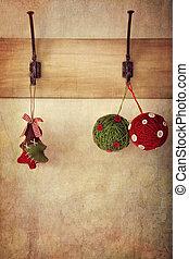 antiquité, mur, crochets, ornements, pendre, vacances