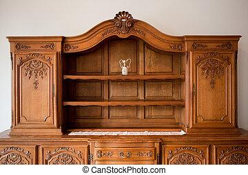 antiquité, tiroirs, poitrine, étagère, meubles